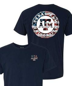 Texas A&M Aggies Comfort Color Navy Cirlce Flag Short Sleeve T-Shirt