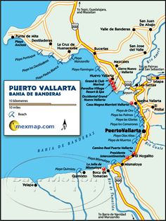 Map of Mexico showing the Bay of Banderas Puerto Vallarta