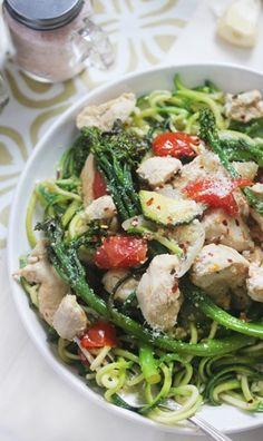 Lexi's Clean Kitchen –  Zucchini {Roasted Garlic Chicken and Veggie Primavera}