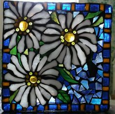 Mosaiced Glass Block,  by Kathy J.Monti