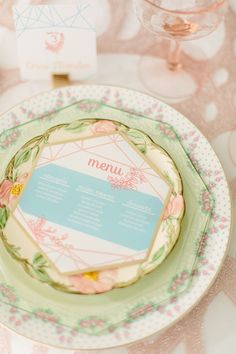 Vintage pastel colored wedding place setting | City Love Photography | see more on: http://burnettsboards.com/2014/04/pastel-mint-gold-wedding-ideas/