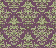 """For the elegant green and purple room of my  dreams ... Oooh, doesn't it sound so much lovelier to call it """"celedon and iris""""? Celedon and Iris Damask fabric by peacoquettedesigns on Spoonflower - custom fabric"""
