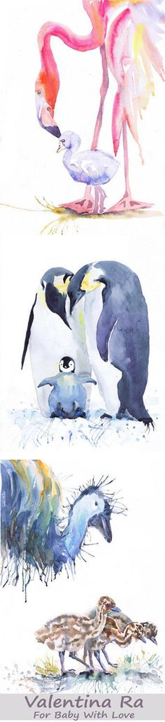Bird Nursery Art, Set of 3 prints, Watercolor Painting Girl Boy Nursery Decor, Mother And Baby Print Gift for new Mom, Bird Watercolour  Set of 3 prints-   high quality fine art prints of my original watercolor painting. It is the work of a watercolor series Portraits of the Heart    Size paper: 14,8 × 21cm,5 4/5 × 8 1/4, A5 (with white borders) - 18.00 $  21 cm x 29,7 cm, 8 1/4 x 11.5/8, A4.(with white borders) - 36.00 $  29,7cm × 42cm, 11,69 × 16,54, A3(with white border...