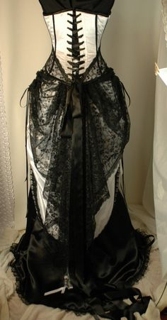 Items similar to Cassandra - Custom made black and white wedding gown with steel boned corset on Etsy White Wedding Gowns, White Bridal, Steampunk Dress, Steampunk Outfits, Lace Tights, Gothic Wedding, Steampunk Wedding, Victorian Fashion, Modern Victorian