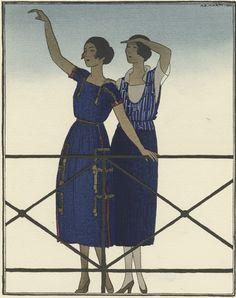 """Illustration by A.E.Marty, June 1920, """"Les voilà! Robes d'été de Doeuillet"""",  La Gazette du Bon Ton, no5."""