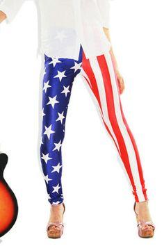 American Flag Leggings for skating Sunday LOL