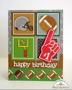 Snippets By Mendi: Doodlebug Touchdown Football Coaster & Birthday Card Set