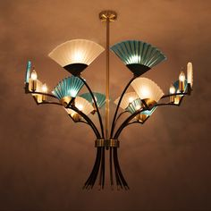 (998.36$)  Know more  - Creative 12 head LED Chandeliers Light 5W E14 Kung modern Fixture copper color plating body glass droplight for hall living room