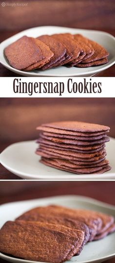 """CAN I MAKE THESE GLUTEN FREE?"""" Best Gingersnap Cookies ever! Ultra-thin gingersnap cookies with molasses and ground ginger, baked until lightly browned and crispy. Great for a Halloween or Holiday treat! Cookie Desserts, Just Desserts, Cookie Recipes, Dessert Recipes, Cupcake Recipes, Dessert Bread, Ginger Snap Cookies, Crisp Ginger Snaps Recipe, Ginger Sweets"""