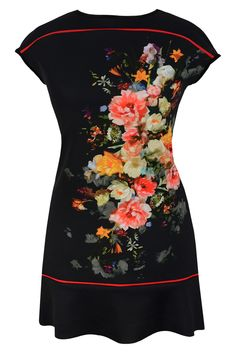 Aldona tunika czarna kwiaty pianka #cute #roses #tunic #black #simple #fashion #outlet