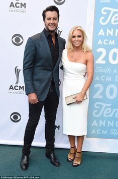 Big country music night:Luke Bryan  with his beautiful wife, Caroline Boyer at the 10th Annual ACM awards on Tuesday