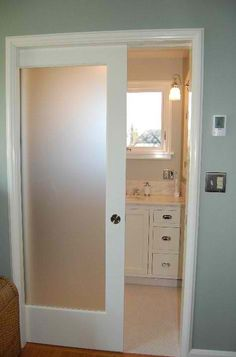 You could use a similar type of (non-pocket) door if you wanted to close off the sewing room/office