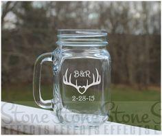 mason jars, Etched Mason Jar, deer antler wedding jar,  Initials by StoneEffectsMD