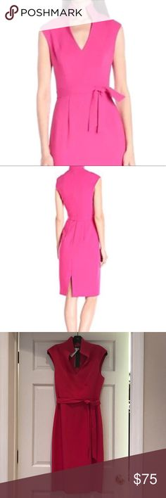 Black Halo Brittan Dress NWT pink (mermaid kiss) 8 NWT - never worn.  Stand up collar; v-neck; hidden back zipper; detachable tie at waist and dress has 3 loops to keep belt in place.  Dress fits perfectly for me in size 8 except for the bust (I am 34DD). Black Halo Dresses