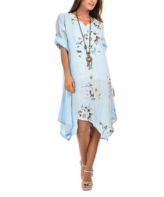 This Sky Blue Floral Linen Handkerchief Dress by Charlotte et Louis is perfect! #zulilyfinds