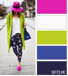 Синий - как основа, желто-зеленый - контраст к нему и близкий по спектру синему фиолетовый как акцент. Два близких по цветовому колесу цвета плюс один контрастный. Белый уравновешивает. При этом, весь образ выдержан достаточно теплым, включая принт на брюках.