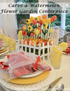 Summer Tablescape with a Carved Watermelon Centerpiece by Between Naps on the Porch