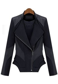 Love...Love...Love this Tailored Black Patchwork Zipper Long Sleeve PU Leather Coat #black #zipper #fashion