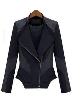 Love...Love...Love this Tailored Black Patchwork Zipper Long Sleeve PU Leather Coat #black #zipper #fashion