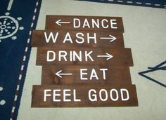 Wooden directional signs..