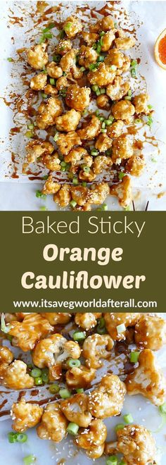 Baked Sticky Orange Cauliflower - these delicious sticky sesame cauliflower bites are the perfect game day snack! Loaded with orange flavor and hints of honey and soy, they're a tasty Asian vegetable recipe. #itsavegworldafterall #sesame #cauliflower