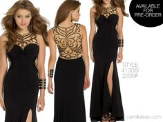 Camille La Vie long black prom dress with illusion and side slit skirt