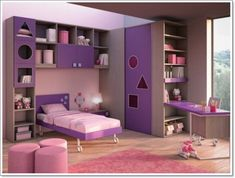 Sensational purple choose bedroom colors in girl room with and round pink ottomans color of moods Purple Bedroom Design, Best Bedroom Colors, Purple Bedrooms, Modern Color Schemes, Bedroom Color Schemes, Colour Schemes, Kids Bedroom Sets, Girls Bedroom, Master Bedroom
