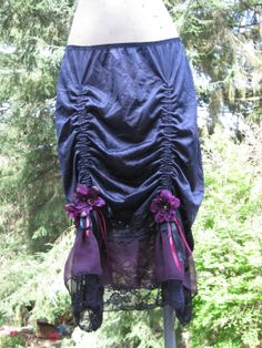 Wild Berry Violet Upcycled black slip skirt with adjustable Ruching and Ruffled Hem by getjuliet, $60.00