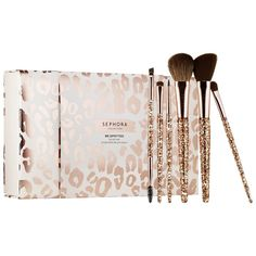 Sephora Be Spotted Brush Set | This set contains all the brushes you need for quick and easy makeup application. Once the tray is removed, you can store your beauty essentials in the reusable box. The brush handles fit comfortably in the hand and feature sparkly rose gold glitter—perfect for the holidays. The case features a cream color with a rose gold leopard print pattern. | $54.00