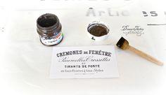 DIY: Vintage esmalte jarra de leche con etiquetas francesas en dificultades y impermeabilizadas