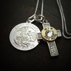 Bullet Jewelry by JECTZ® - Saint Michael Cross Sterling Silver Bullet Necklace, $59.95 (http://www.jectz.com/saint-michael-cross-sterling-silver-bullet-necklace/)