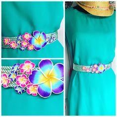Cinturón de cordón de seda y flores de porcelana  Www.lazodeseda.es