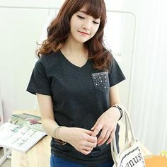 Buy 'Dodostyle – Beaded Pocket V-Neck T-Shirt' with Free International Shipping at YesStyle.com. Browse and shop for thousands of Asian fashion items from South Korea and more!