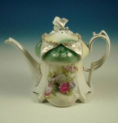 Antique RS Prussia Teapot Mold 643 Floral Rose Footed Tea Pot Schlegelmilch R.S