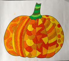 Oil pastel doodle pumpkin activity for kids with template
