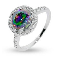 Dazzling Round Cut Mystic Fire CZ Sterling Silver Ring, $46