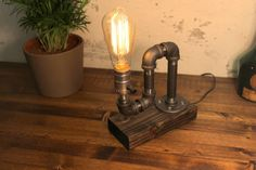 Industrial pipe light lamp Unique table by UrbanIndustrialCraft
