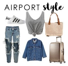 """perfect travel"" by rosemakeupmode on Polyvore featuring One Teaspoon, Monki, adidas, Hartmann, GetTheLook and airportstyle"