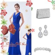 """Royal Blue Column / Sheath V-neck Floor-length Chiffon Ruch Bridesmaid Dress"" by quinceanera-fashionos on Polyvore"