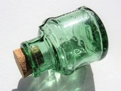 Antique Glass Ink Bottle - this vintage deep green glass corked ink well makes a unique gift for a writer or teacher Antique Glass Bottles, Green Glass Bottles, Bottles And Jars, Antique Quotes, Bottle Drawing, Slytherin Aesthetic, Small Gifts, Antiques, Beetlejuice Wedding