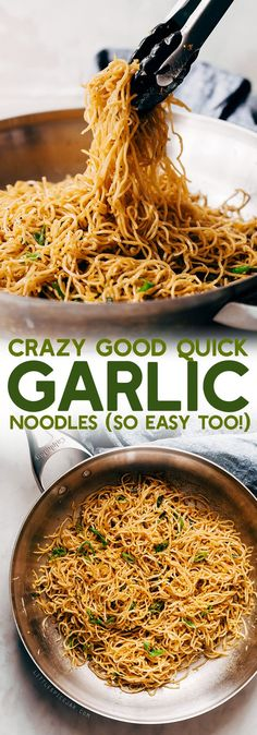 Crazy Good Quick Garlic Noodles - a quick 15 minutes for garlic noodles! These noodles are a fusion recipe and have the BEST flavor!  Made on 02-27-2018 added cabbage and yellow bell pepper #chinesefoodrecipes
