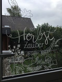 Herbs is now on our kitchen door too - Autumn has also arrived at our kitchen door … # Paint the window to paint A - Kitchen Door Paint, Kitchen Doors, Window Markers, Window Art, Painted Doors, Chalkboard Art, Chalk Art, Art Pictures, Most Beautiful Pictures