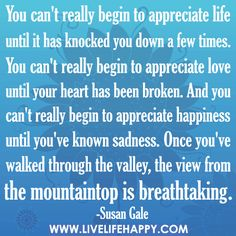 You can't really begin to appreciate life until it has knocked you ...