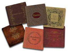 Livres de Jane Austen Coaster Set - néoprène 6 pces