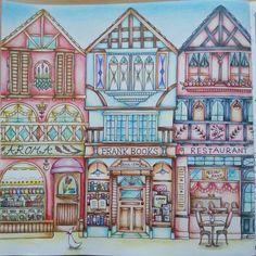 旧市街 。 今日はお休みだったので、これからまたどれか塗ろうかな。(,,> <,,)♡ #ロマンティックカントリー #romanticcountry #coloriage #coloringbook #eriy #大人のぬりえ #塗り絵 #コロリアージュ #cocot #旧市街