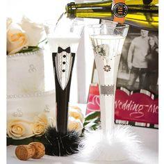 Bride And Groom Champagne Trumpet Flute Set #GiftedLiving