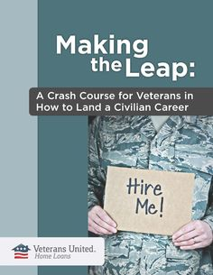 """Veterans can face a host of challenges as they transition back into civilian life. This resource offers some concrete steps and simple ways for service members to invest in and best position themselves to land a job after their military career comes to an end.""  I haven't read this yet but Veterans United puts out quality information - MilitaryAvenue.com"