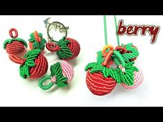 Macrame tutorial - Super cut and fresh berry keychain - Hướng dẫn thắt d. Macrame Mirror, Macrame Art, Macrame Knots, Micro Macrame, Macrame Jewelry, Crochet Butterfly Free Pattern, Crochet Leaf Patterns, Crochet Leaves, Crochet Flowers