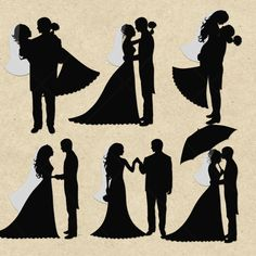 INSTANT DOWNLOAD Bride and Groom Silhouettes - Digital Clipart card design, invitations, stickers, paper crafts, web design. COMMERCIAL Use on Etsy, $2.50