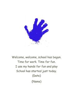 First day of school hand print poem! First day of school hand print poem! The post First day of school hand print poem! appeared first on School Diy. Preschool First Week, September Preschool, First Day Of School Activities, First Day School, Preschool Songs, Beginning Of The School Year, New School Year, Preschool Classroom, In Kindergarten